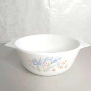 Small Vintage Pyrex England Blue Iris Serving Dish